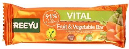 FreeYu, Vital Fruit and Vegetable Bar Carrot, Apple, Orange, wegański baton owocowy z marchewką, copyright Olga Kublik