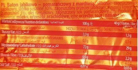 FreeYu, Vital Fruit and Vegetable Bar Carrot, Apple, Orange, wegański baton owocowy z marchewką, skład i wartości odżywcze, copyright Olga Kublik