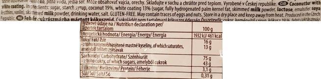 Goldfein, FLINT kokosowa tycinka s bilou polevou, czeski baton kokosowy, skład i wartości odżywcze, copyright Olga Kublik