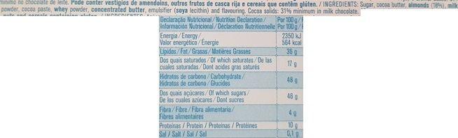 Imperial, Regina Chocolates Chocolate de leite com amendoas, portugalska mleczna czekolada z migdałami, skład i wartości odżywcze, copyright Olga Kublik
