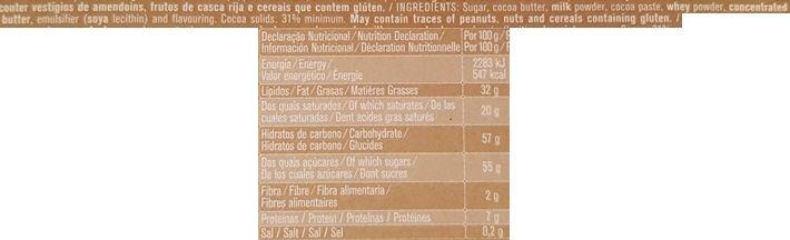 Imperial, Regina Chocolates Chocolate de leite, portugalska mleczna czekolada, skład i wartości odżywcze, copyright Olga Kublik