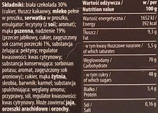 Kopernik, Pierniki nadziewane w bialej czekoladzie Smak czarnej porzeczki, czekoladowe pierniki z dżemem czarna porzeczka, toruńskie pierniki, skład i wartości odżywcze, copyright Olga Kublik