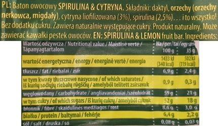 Kubara, Dobra Kaloria Superfoods Spirulina Cytryna, surowy baton wegański bez cukru i glutenu, raw food, skład i wartości odżywcze, copyright Olga Kublik