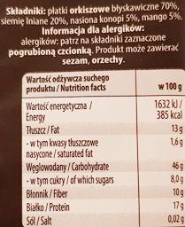 Melvit, Mens Secret Orkiszowy z ziarnami konopi i mango, zdrowy deser błyskawiczny, skład i wartości odżywcze, copyright Olga Kublik