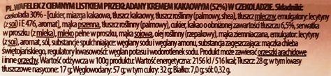 Mieszko, Chocoladorro wafel mocno kakaowy, skład i wartości odżywcze, copyright Olga Kublik
