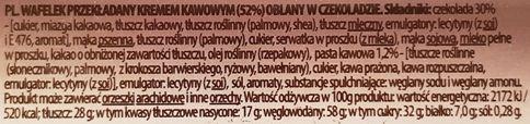 Mieszko, Espresso wafel z kremem kawowym, skład i wartości odżywcze, copyright Olga Kublik