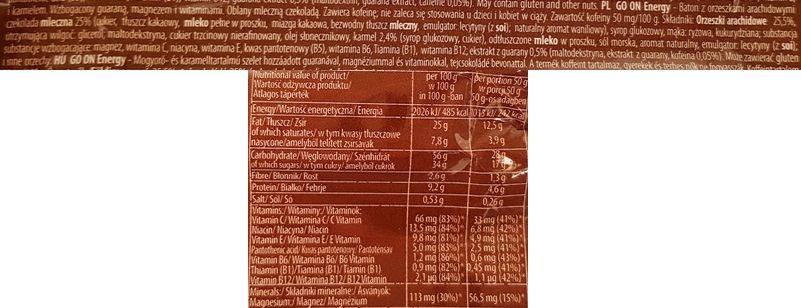 Sante, Go On Energy Peanut, Caramel, Milk Chocolate, baton czekoladowy z orzechami i karmelem, skład i wartości odżywcze, copyright Olga Kublik