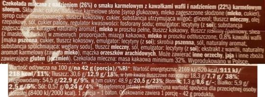 Czekolateria, Arcy Karmel z Lidla, baton czekoladowy ze słonym karmelem, skład i wartości odżywcze, copyright Olga Kublik