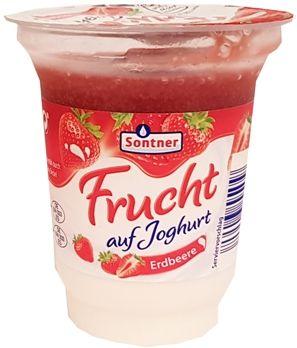 FrieslandCampina, Sontner Frucht auf Joghurt Erdbeere, jogurt truskawkowy z Aldiego, copyright Olga Kublik