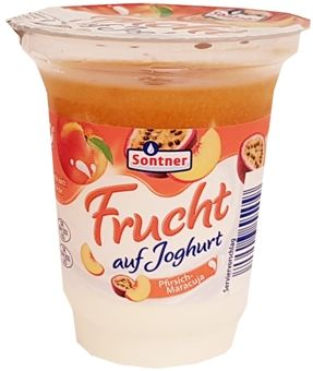 FrieslandCampina, Sontner Frucht auf Joghurt Pfirsich-Maracuja, jogurt z Aldiego, copyright Olga Kublik