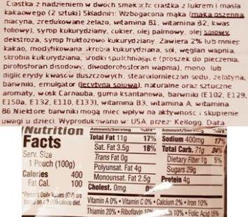 Kellog's, Pop Tarts Splitz Drizzled Sugar Cookie Frosted Brownie Batter, amerykańskie ciastka z lukrem, słodkie tosty śniadaniowe, skład i wartości odżywcze, copyright Olga Kublik