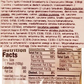 Kellog's, Pop Tarts Splitz Frosted Strawberry Drizzled Cheesecake, tosty amerykańskie ciastka z lukrem, truskawkami i sernikiem, skład i wartości odżywcze, copyright Olga Kublik