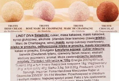 Lindt, bombonierka Diva Truffe, trufle czekoladowe z alkoholem, skład i wartości odżywcze, copyright Olga Kublik