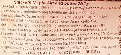 MARS, Snickers Creamy Maple Almond Butter, amerykański baton czekoladowy z masłem migdałowym i syropem klonowym, skład i wartości odżywcze, copyright Olga Kublik