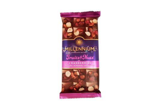 Malbi Foods, Millenium Fruits Nuts Cranberries Raisins Almonds Hazelnuts, mleczna czekolada z bakaliami, czekolada ukraińska, copyright Olga Kublik