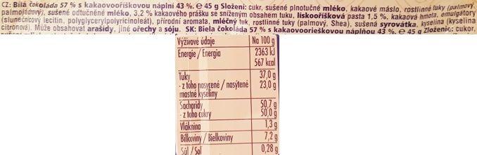 Nestle, Orion Ledove Kastany v bile cokolade, czeski baton czekoladowy z nadzieniem kakaowo-orzechowym, skład i wartości odżywcze, copyright Olga Kublik