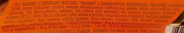Roshen, baton Milk Chocolate Caramel, ukraiński baton czekoladowy, skład i wartości odżywcze, copyright Olga Kublik