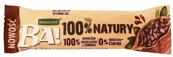Bakalland, BA 100% natury raw bar Daktyle Kakao, surowy baton wegański kakaowy, zdrowe słodycze bez cukru, copyright Olga Kublik