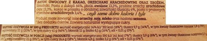Bakalland, BA 100% natury raw bar Daktyle Kakao, surowy baton wegański kakaowy, zdrowe słodycze bez cukru, skład i wartości odżywcze, copyright Olga Kublik