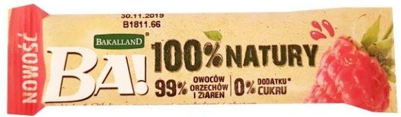 Bakalland, BA 100% natury raw bar Daktyle Malina, zdrowe słodycze wegańskie, surowy baton bez cukru i glutenu, copyright Olga Kublik