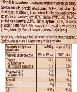 Bakalland, BA Protein Owsianka Kawa i Banan, zdrowa owsianka proteinowa, skład i wartości odżywcze, copyright Olga Kublik