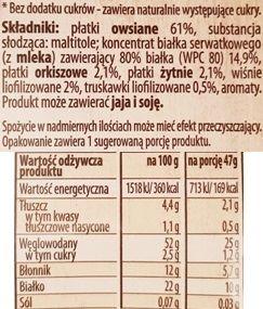 Bakalland, BA Protein Owsianka Wiśnia i Truskawka, zdrowa owsianka owocowa, skład i wartości odżywcze, copyright Olga Kublik
