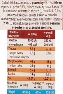 Bakoma, Satino mleczna kaszka manna błyskawiczna o smaku czekoladowym, kasza manna czekoladowa instant, skład i wartości odżywcze, copyright Olga Kublik
