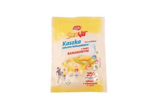 Celiko, SunVit Kaszka mleczno-kukurydziana o smaku bananowym, bananowa kasza bez glutenu, copyright Olga Kublik