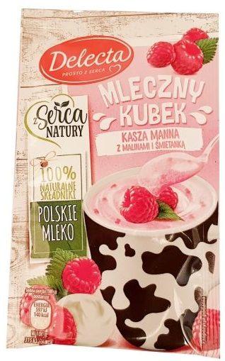Delecta, Mleczny Kubek kasza manna z malinami i śmietanką, szybki deser instant, mleczna kaszka malinowa, copyright Olga Kublik
