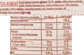 Delecta, Mleczny Kubek kasza manna z malinami i śmietanką, szybki deser instant, mleczna kaszka malinowa, skład i wartości odżywcze, copyright Olga Kublik