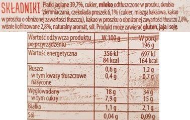 Delecta, Mleczny Kubek płatki jaglane z wiśniami i czekoladą, szybki deser jaglany instant, skład i wartości odżywcze, copyright Olga Kublik