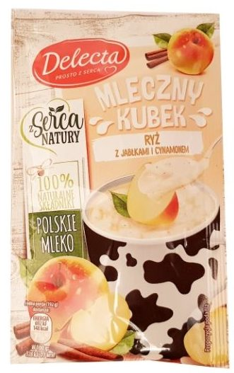 Delecta, Mleczny Kubek ryż z jabłkami i cynamonem, ryż na mleku, szybki deser instant, copyright Olga Kublik