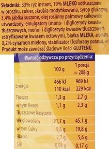 Dr. Oetker, Słodka Chwila Mleczny Ryż jabłko cynamon, skład i wartości odżywcze, copyright Olga Kublik