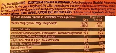 Good Food, Karmel Wafle ryżowo-kukurydziane o smaku karmelowym, skład i wartości odżywcze, copyright Olga Kublik