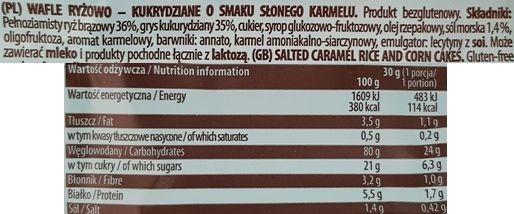 Good Food, Słony Karmel Wafle ryżowo-kukurydziane o smaku słonego karmelu, skład i wartości odżywcze, copyright Olga Kublik