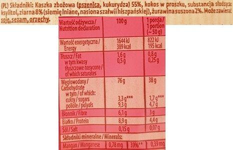Kupiec, Kaszka pszenno-kukurydziana z ziarnami i żurawiną, deser bez cukru i laktozy, skład i wartości odżywcze, copyright Olga Kublik