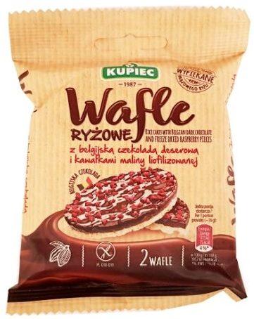 Kupiec, Wafle ryżowe z belgijską czekoladą deserową i kawałkami maliny liofilizowanej, wafle ryżowe w czekoladzie z malinami, copyright Olga Kublik