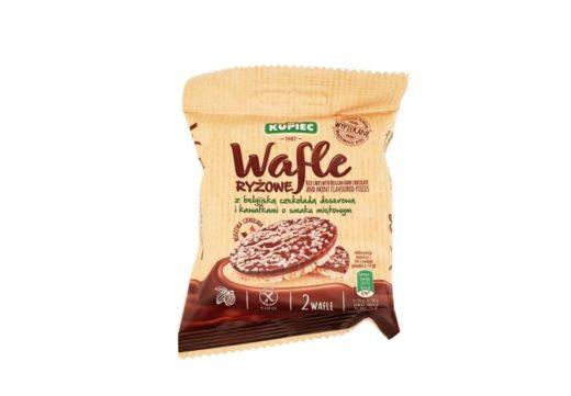 Kupiec, Wafle ryżowe z belgijską czekoladą deserową i kawałkami o smaku miętowym, wafle ryżowe w czekoladzie z miętą, copyright Olga Kublik