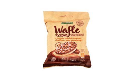 Kupiec, Wafle ryżowe z belgijską czekoladą deserową i kawałkami o smaku pomarańczowym, wafle ryżowe w czekoladzie z pomarańczą, copyright Olga Kublik
