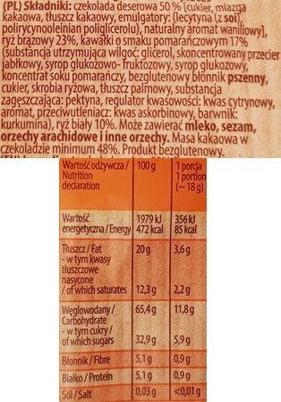 Kupiec, Wafle ryżowe z belgijską czekoladą deserową i kawałkami o smaku pomarańczowym, wafle ryżowe w czekoladzie z pomarańczą, skład i wartości odżywcze, copyright Olga Kublik