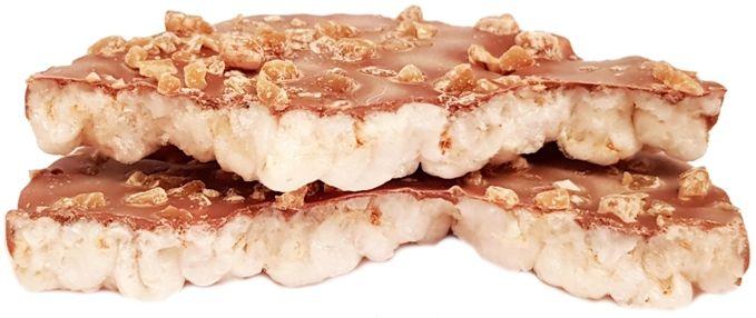 Kupiec, Wafle ryżowe z belgijską czekoladą mleczną i kawałkami solonego karmelu, wafle ryżowe w czekoladzie słony karmel, copyright Olga Kublik