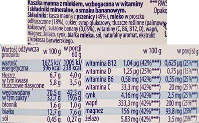 Maspex Danone, Biedronka, Lubella, Mleczny start kaszka z mlekiem o smaku bananowym, bananowa kaszka z Biedronki, skład i wartości odżywcze, copyright Olga Kublik