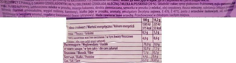 Milka, Choco Jaffa ciastka z czekoladowym musem, ciastka czekoladowe z musem i biszkoptem, jaffa cakes, skład i wartości odżywcze, copyright Olga Kublik