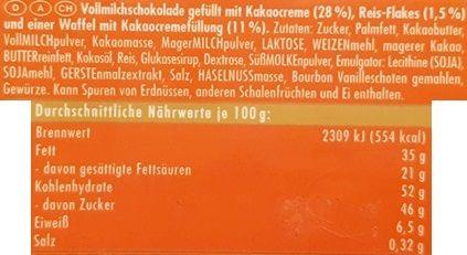 Ritter Sport, Waffel, mleczna czekolada z waflem kakaowym, kremem kakaowym i słonymi chrupkami ryżowymi, skład i wartości odżywcze, copyright Olga Kublik