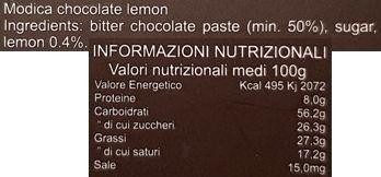 SiciliaTentazioni, Cioccolato di Modica al limone, ciemna czekolada deserowa 50% o smaku cytrynowym, skład i wartości odżywcze, copyright Olga Kublik