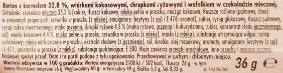 Colian, baton Alibi kokosowy, skład i wartości odżywcze, copyright Olga Kublik