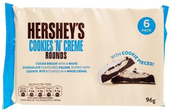 Hershey's, Cookies 'n' Creme Rounds, ciastka kakaowe z kremem mlecznym i białą czekoladą, copyright Olga Kublik