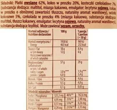 Kupiec, Owsianka czekoladowo-kokosowa, owsianka bez cukru i laktozy, skład i wartości odżywcze, copyright Olga Kublik