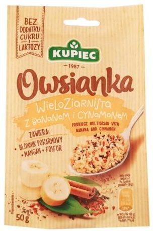Kupiec, Owsianka wieloziarnista z bananem i cynamonem, zdrowa owsianka bez cukru i laktozy, copyright Olga Kublik