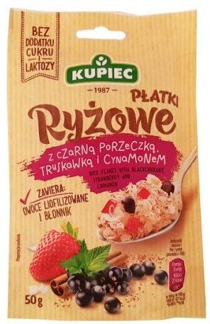 Kupiec, Płatki Ryżowe z czarną porzeczką, truskawką i cynamonem, zdrowy deser bez cukru, copyright Olga Kublik